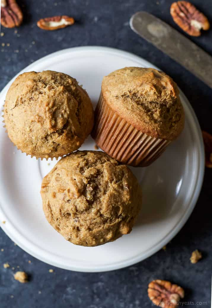 Skinny Banana Nut Muffins, everyone needs a classic muffin recipe and this is it! Moist, delicious, sweetened with honey, and only 205 calories - the perfect on-the-go breakfast! | joyfulhealthyeats.com #recipes
