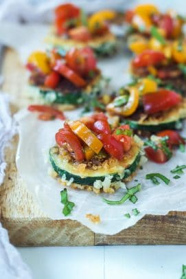 Skinny Bruschetta Zucchini Chips a low calorie, meat free, and dairy free, option for game day but still packs a punch of flavor from a few secret ingredients! This is a must try for sure! | joyfulhealthyeats.com #recipes #ad #MeatlessMondayNight