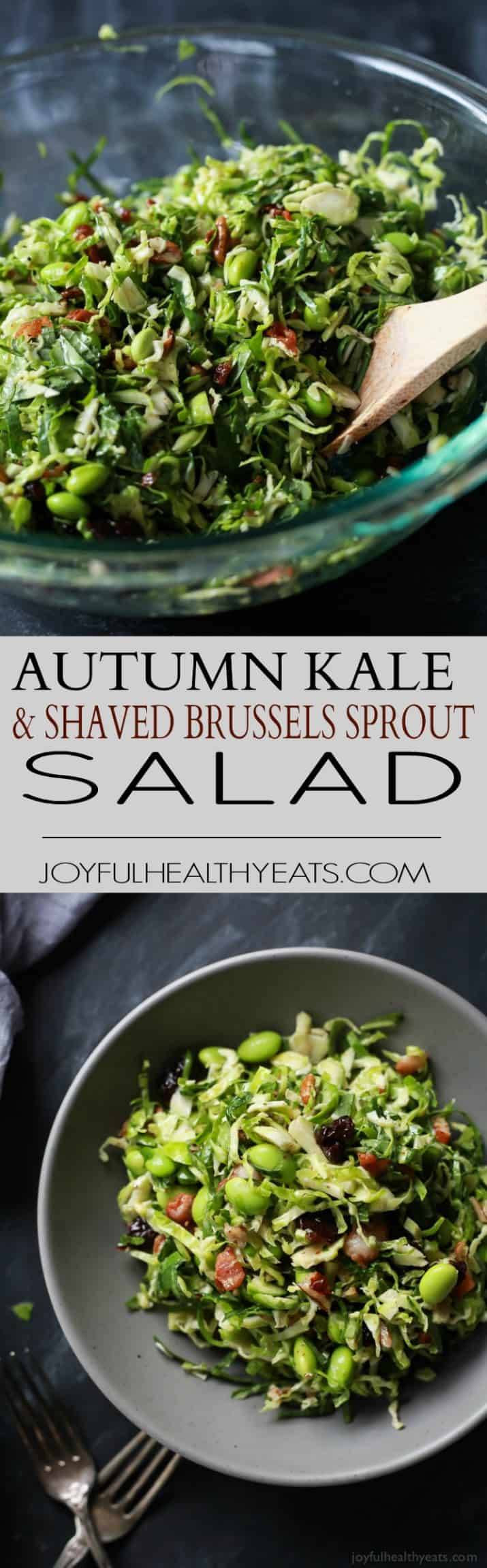 Pinterest image for Autumn Kale & Shaved Brussel Sprout Salad