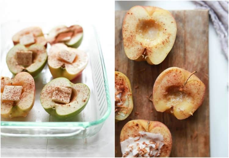 Apple halves in a baking dish with cinnamon and butter and apple halves on a cutting board with cinnamon