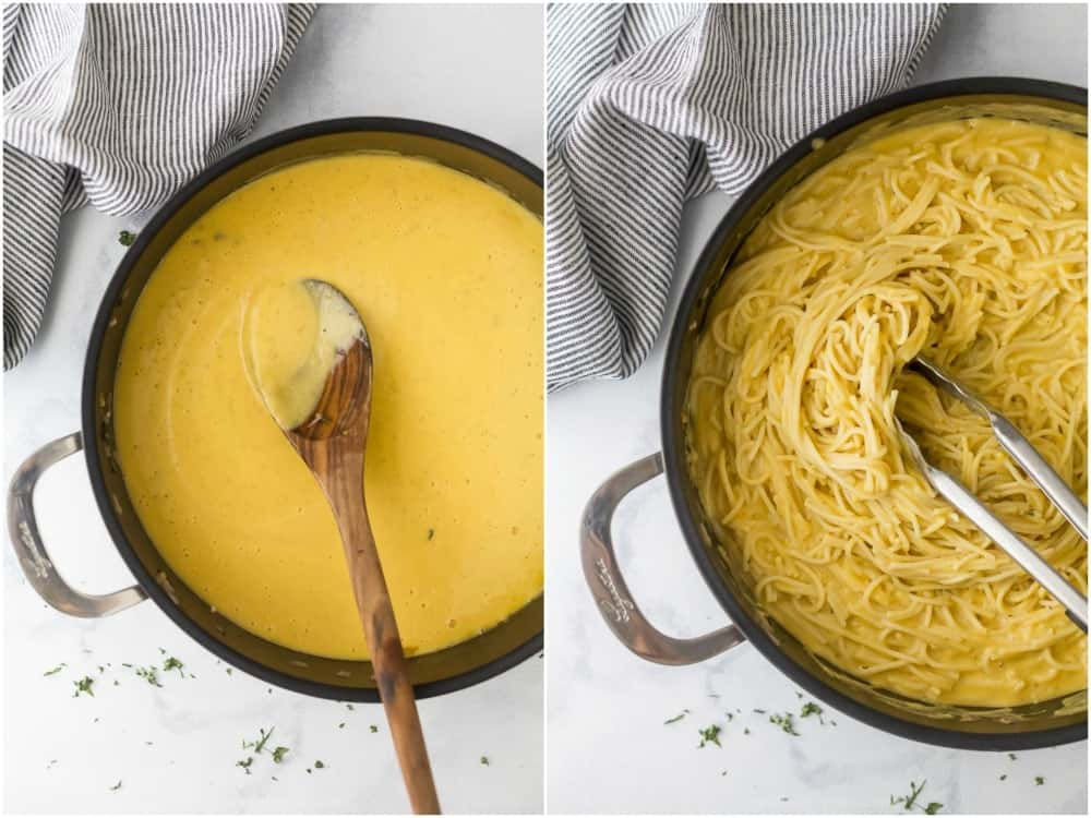 Collage of two steps to make butternut squash pasta sauce