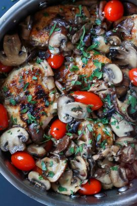 Easy Chicken Marsala with Blistered Tomatoes-1