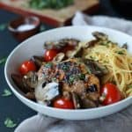 Easy Chicken Marsala cooked in butter and marsala wine then topped with Blistered Tomatoes. This dish is light, takes 30 minutes to make, is gluten free, under 350 calories, and is freakin tasty!   joyfulhealthyeats.com