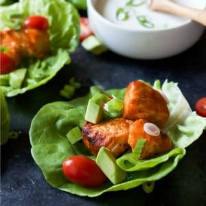 Grilled Buffalo Chicken Lettuce Wraps-feature