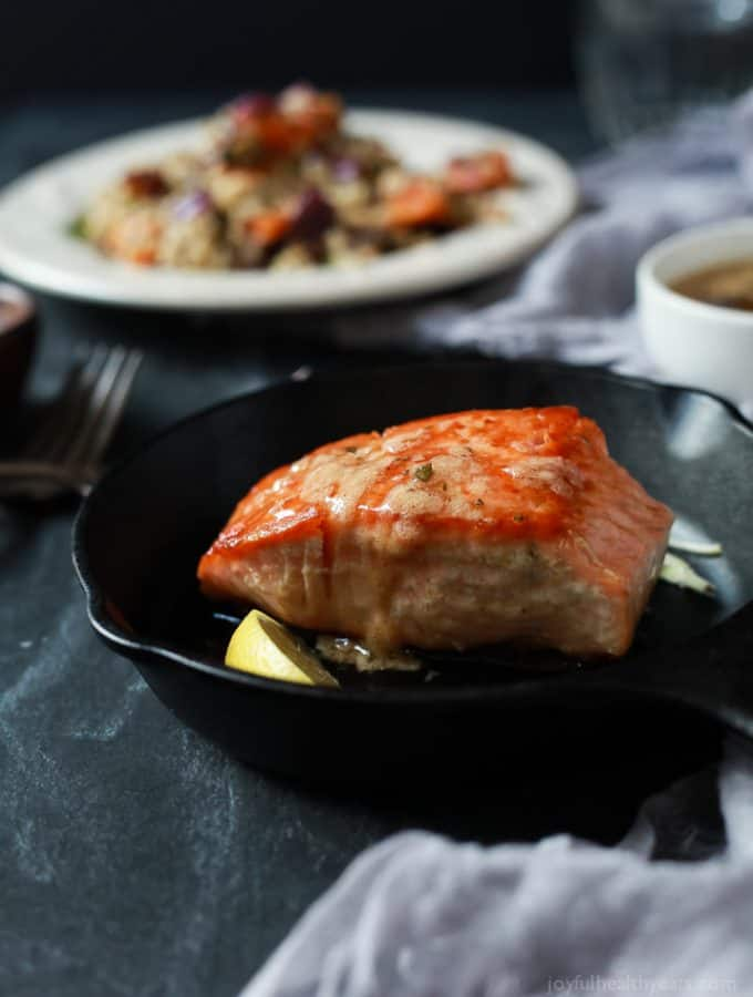 Perfectly Pan Seared Salmon topped with a nutty Brown Butter Sauce with subtle hints of fresh sage and nutmeg for one to die for bite. This Salmon recipe screams fall, takes less than 30 minutes, and is 300 calories! | joyfulhealthyeats.com #glutenfree #paleo Easy Healthy Recipes