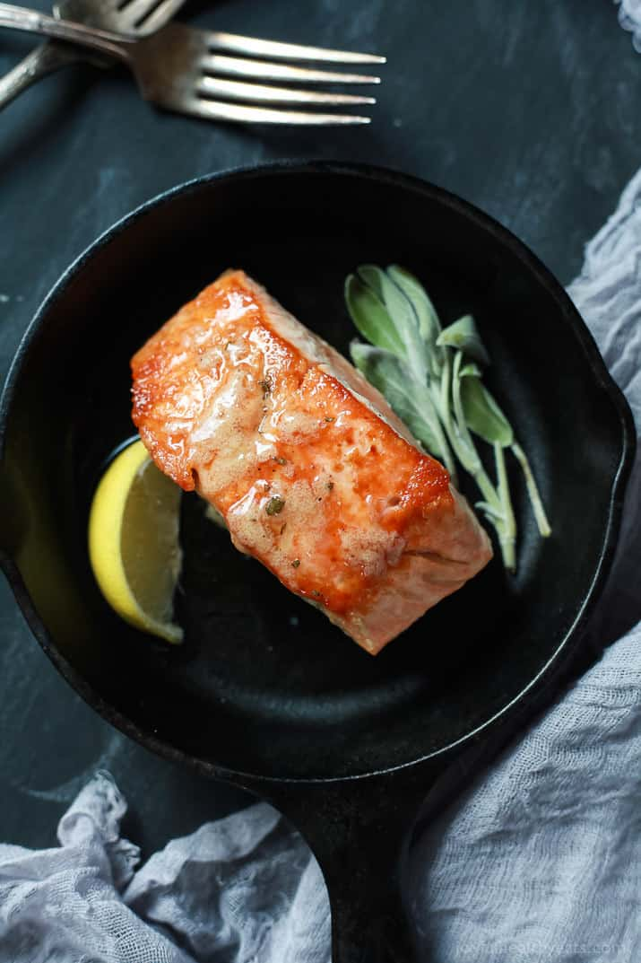 Perfectly Pan Seared Salmon topped with a nutty Brown Butter Sauce with subtle hints of fresh sage and nutmeg for one to die for bite. This Salmon recipe screams fall, takes less than 30 minutes, and is 300 calories! | joyfulhealthyeats.com #glutenfree #paleo