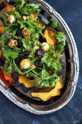 Roasted Acorn Squash with Arugula Salad-6