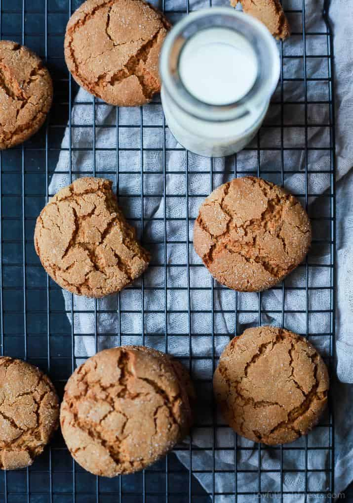 Super Soft & Chewy Ginger Cookies packed with a punch of ginger flavor and made with a new gluten free friendly flour. These are perfect for a Christmas Cookie exchange, to hoard for yourself, or to dunk in a cup or coffee. Your choice! | joyfulhealthyeats.com #recipes #ad #einkornflour