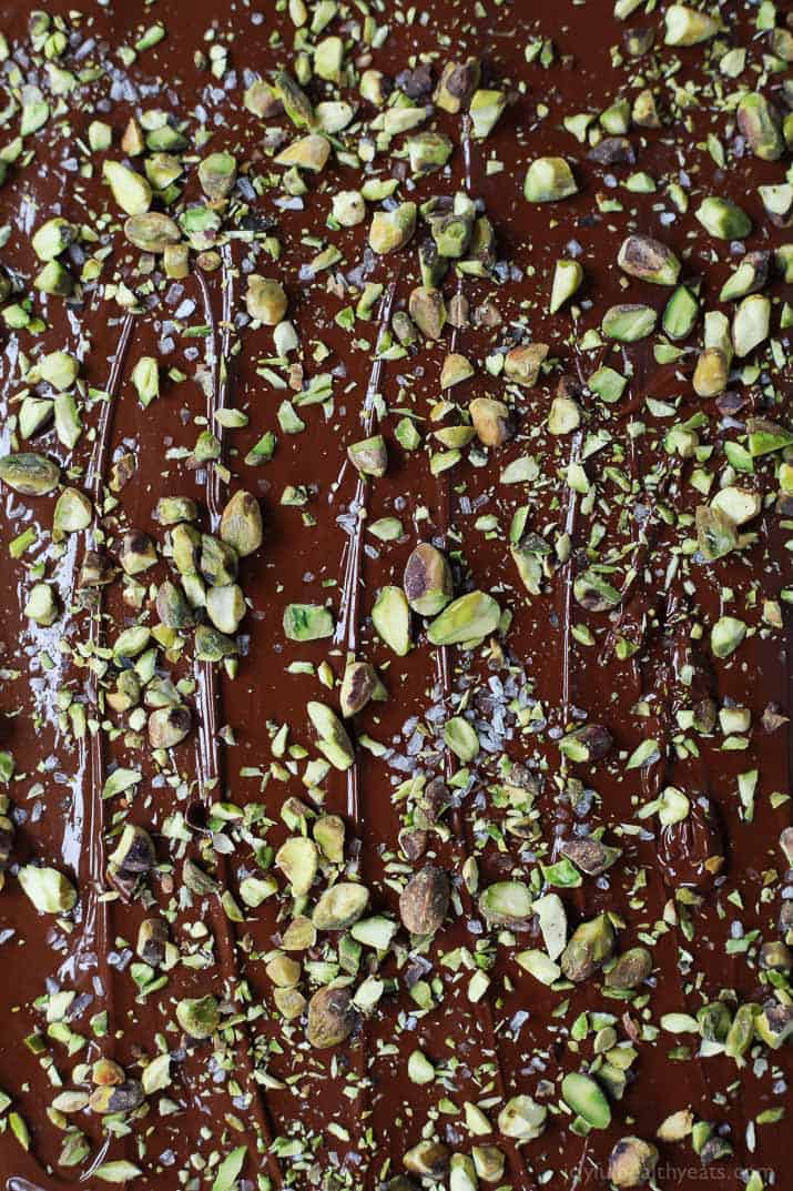 Close-up of Salted Pistachio Chocolate Bark