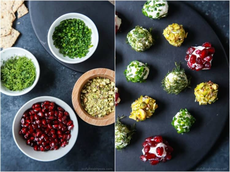 Four bowls with pomegranate arils, chives, dill and pistachios, and a collection of cheese balls coated in the four toppings in the bowls