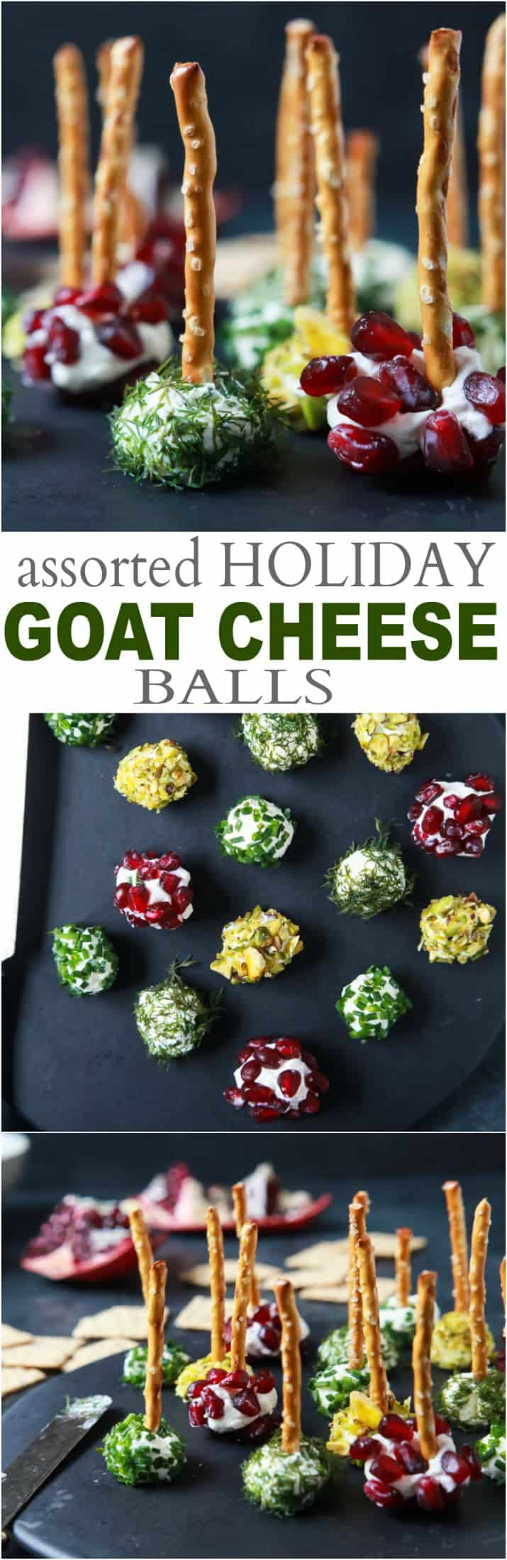 Title Image for Assorted Holiday Goat Cheese Balls with 3 images of goat cheese balls on a plate with pomegranate, pistachio, chives, and dill