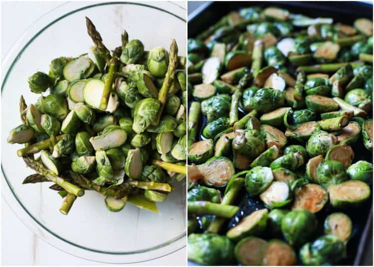 Halved brussel sprouts and asparagus pieces in a bowl and on a sheet pan