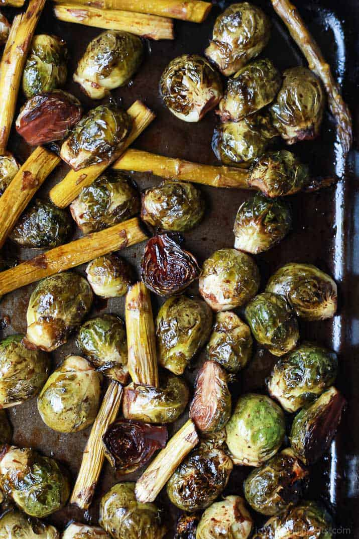 Roasted Brussels Sprouts and Asparagus on a sheet pan