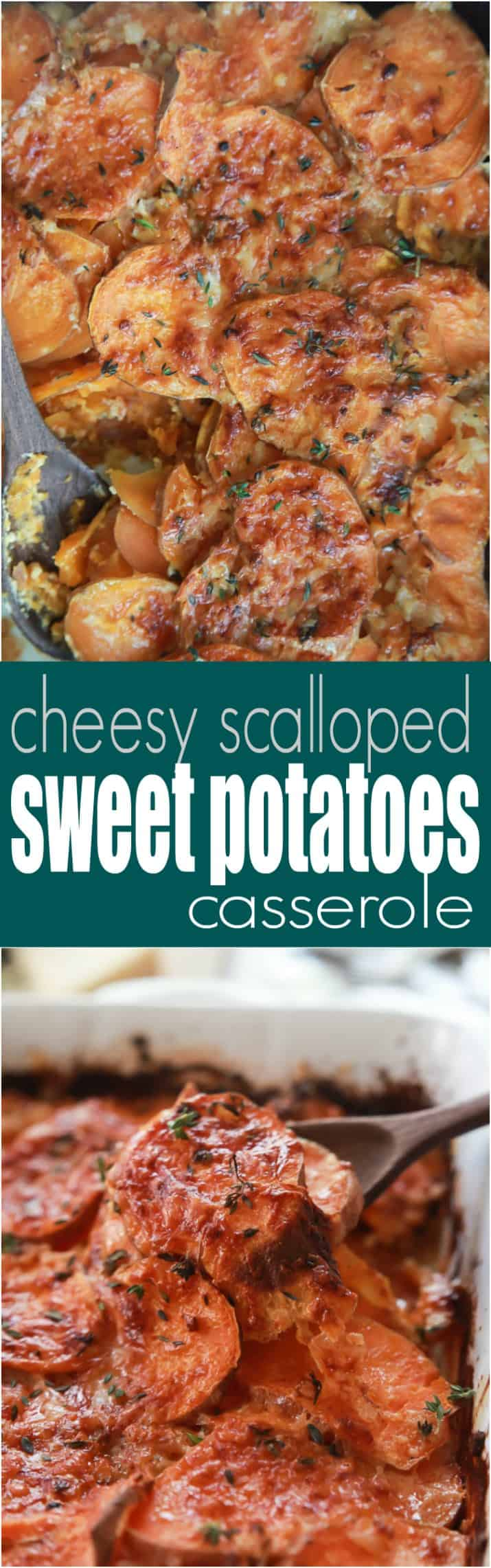 Easy Cheesy Scalloped Sweet Potatoes - the ultimate side dish made healthier but keeping the same comforting flavor you love! Delicious!| joyfulhealthyeats.com #glutenfree