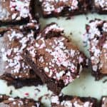 Eight Peppermint Brownies Topped with Crushed Candy Cane Pieces