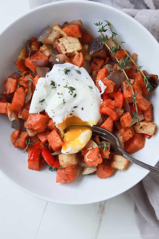 Easy Sweet Potato Hash with Eggs