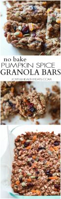 A vertical collage of three images of pumpkin spice breakfast bars