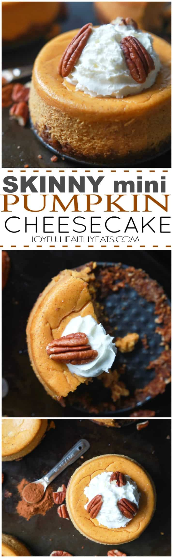 This Skinny Mini Pumpkin Cheesecake is every bit as good as the Cheesecake Factory's. Easy, light, creamy and full of pumpkin flavor, definitely a dessert recipe your family will devour! | joyfulhealthyeats.com
