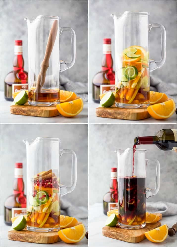 step-by-step photos of how to make the ultimate holiday sangria recipe