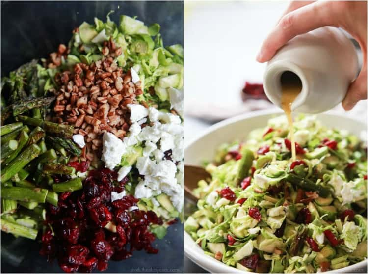 Collage of Asparagus & Brussel Sprout Salad ingredients and the completed salad topped with Honey Dijon Dressing