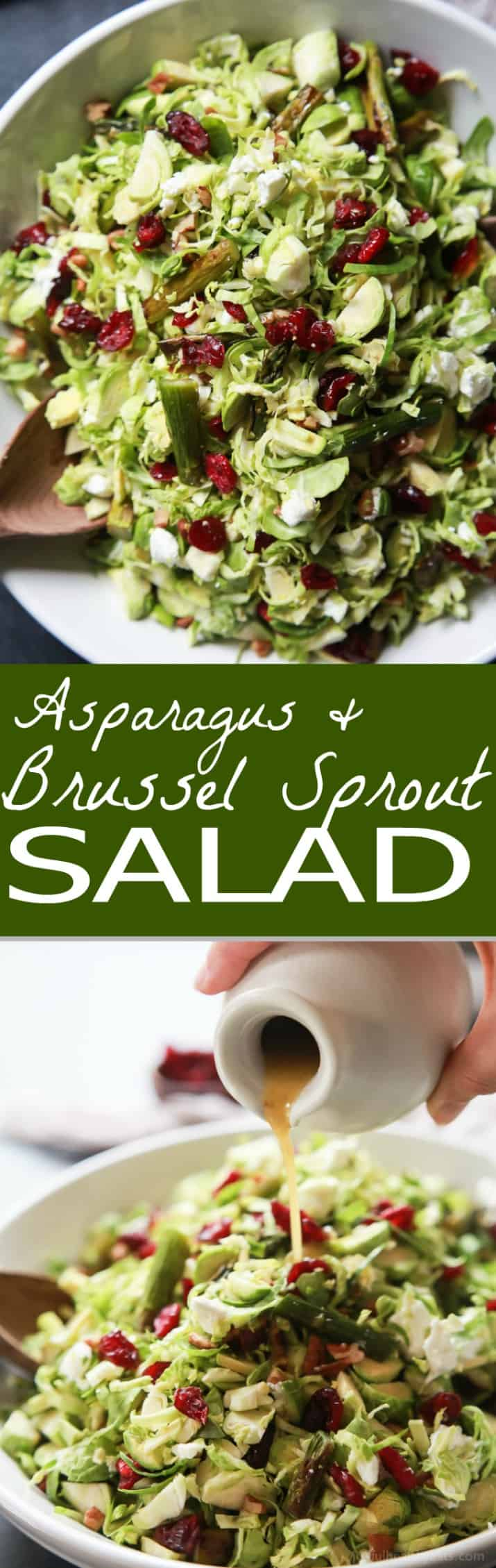 Asparagus & Brussel Sprout Salad topped with Honey Dijon Dressing - a tasty, healthy, easy to make salad done in 30 minutes that's sure to be a favorite! Perfect for the holidays or a fresh start to the new year at only 162 calories! | joyfulhealthyeats.com #glutenfree #vegetarian
