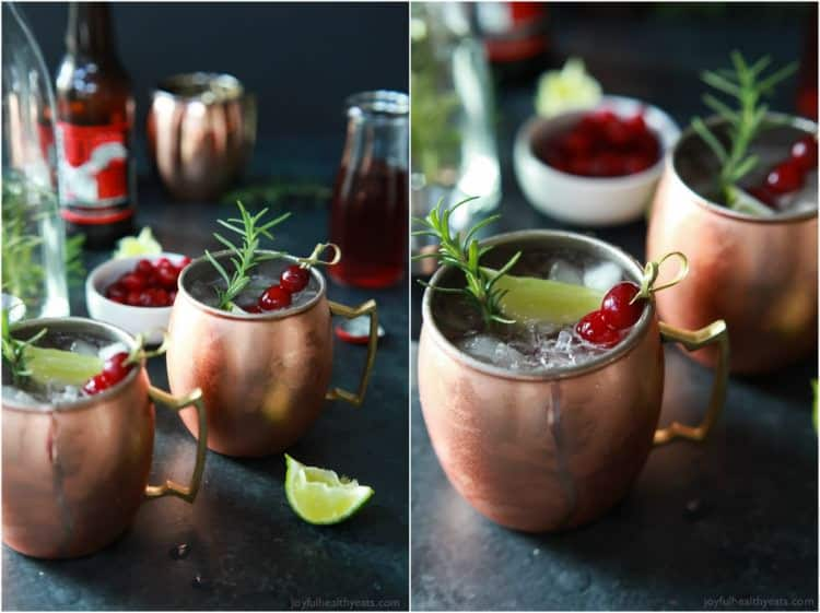 Collage of mugs of Cranberry Moscow Mule with Rosemary Infused Vodka