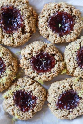 flourless lemon raspberry thumbprint cookies