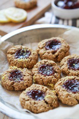 Image of Flourless Lemon Raspberry Thumbprint Cookies