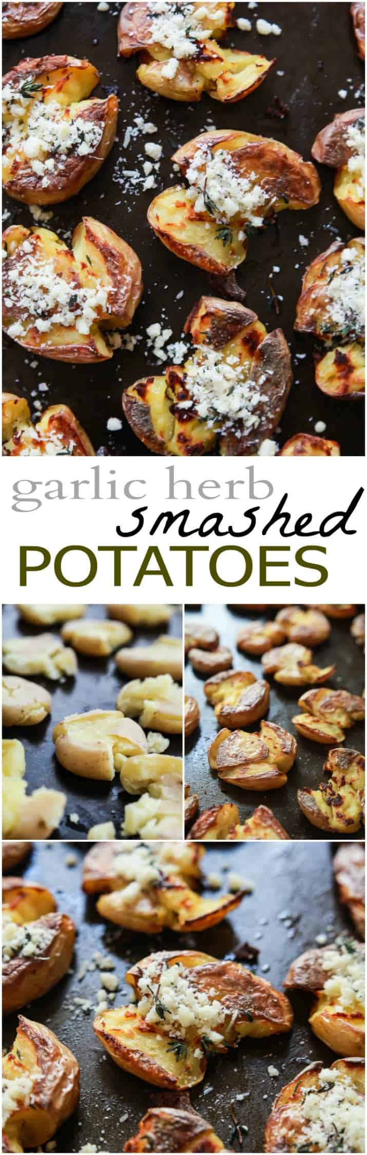 Garlic Herb Smashed Potatoes - these potatoes are crispy on the outside while soft on the inside and then filled with fresh garlic herb flavor! A must this holiday season! | joyfulhealthyeats.com