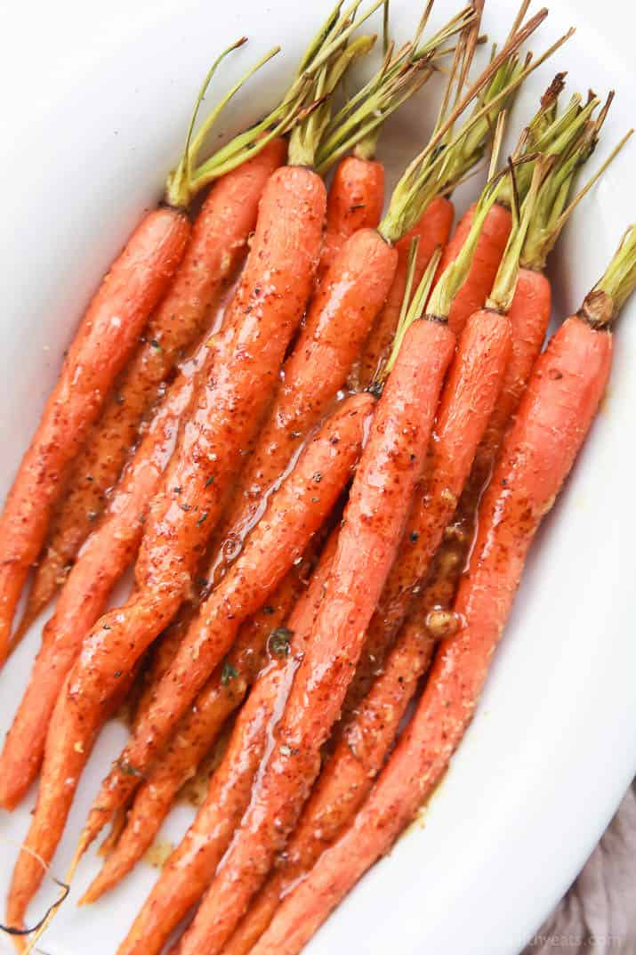 3 Ingredient Honey Mustard Glazed Carrots - carrots never tasted so good! The Honey Mustard Glaze on these Roasted Carrots will make your taste buds think it's party time! | joyfulhealthyeats.com #glutenfree