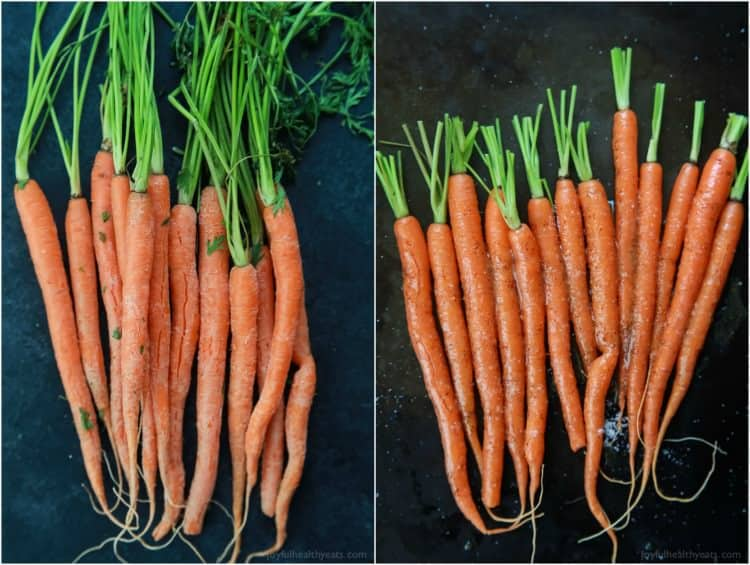 A photo of fresh carrots before they are cooked and a photo of carrots after being cookied