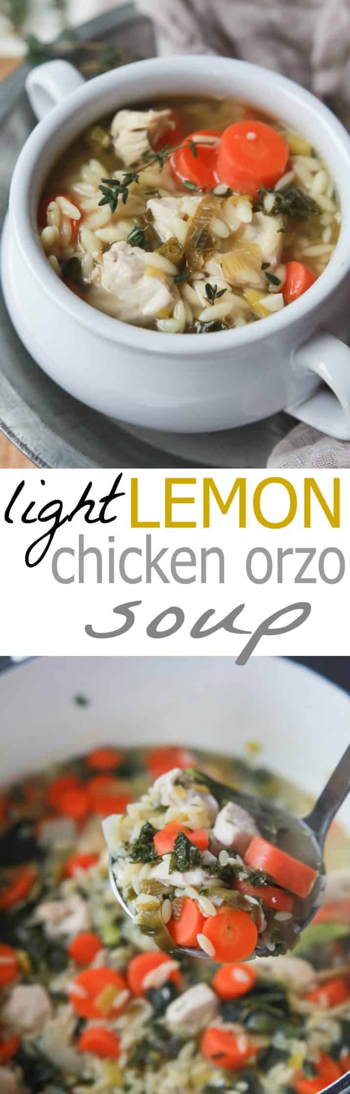 Light Lemon Chicken Orzo Soup - the perfect comfort soup that's full of vegetables, protein, and a fresh lemony broth that you'll swoon over! This soup is pure bliss on cold winter day! | joyfulhealthyeats.com