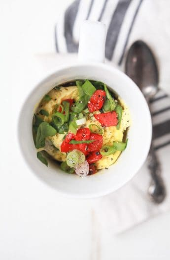 """A great breakfast recipe for a healthy New Year! 2 Minute Egg Omelet in a Mug, low in calories, filled with nutrients, easy to """"make your own"""" and all made in one cup! 