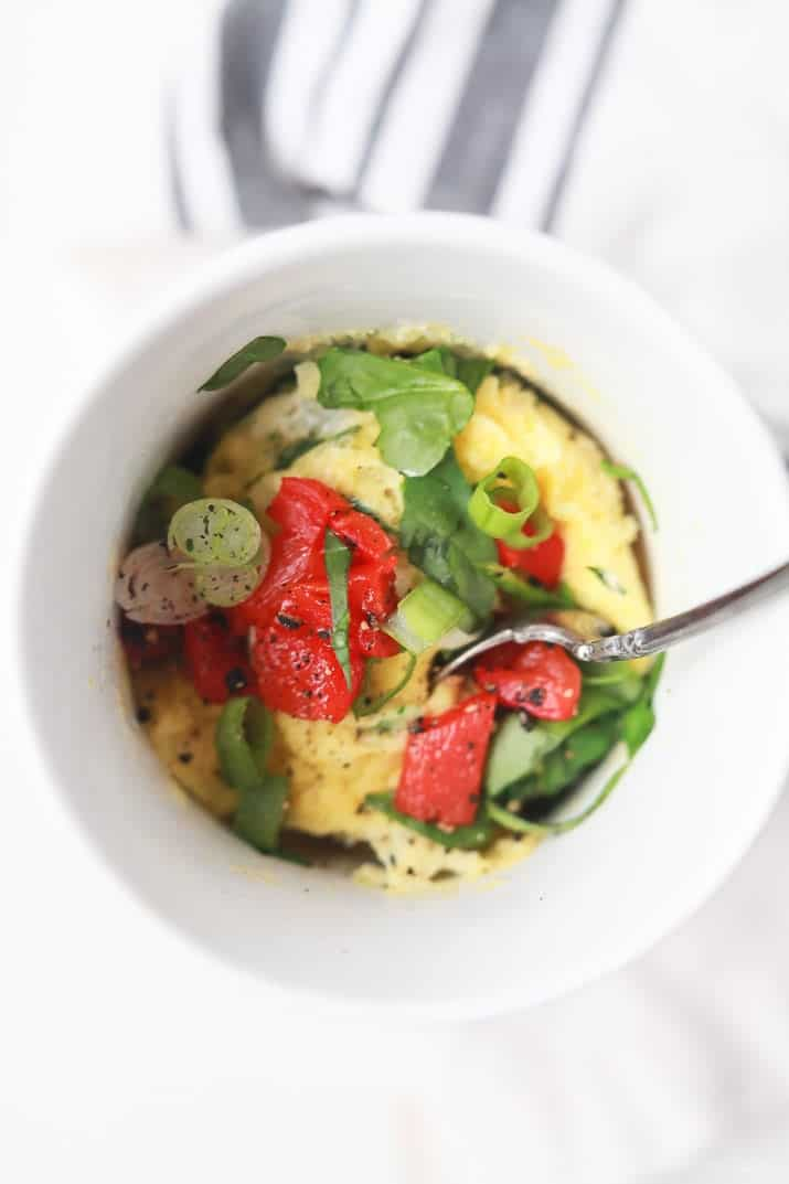 "A great breakfast recipe for a healthy New Year! 2 Minute Egg Omelet in a Mug, low in calories, filled with nutrients, easy to ""make your own"" and all made in one cup! 