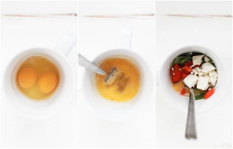 Collage of 3 images of egg omelet in a mug steps