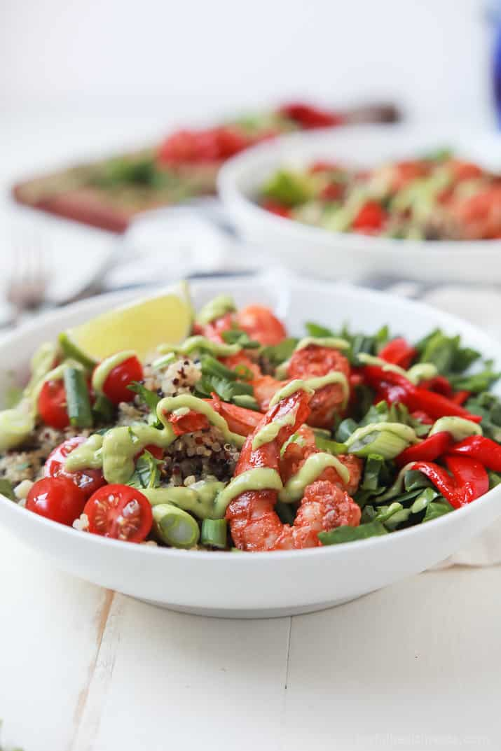 Blackened Shrimp Quinoa Bowl topped with a silky Avocado Crema - an easy, delicious, gluten free recipe that can be on the table in just 30 minutes! | joyfulhealthyeats.com