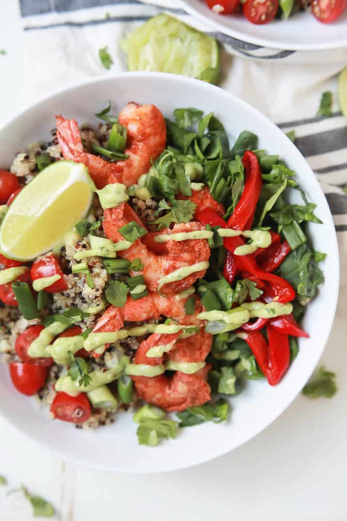 Blackened Shrimp Quinoa Bowl topped with Avocado Crema