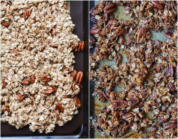 An easy Homemade Banana Bread Granola Recipe that takes 30 minutes to make and full of banana bread flavor! | joyfulhealthyeats.com