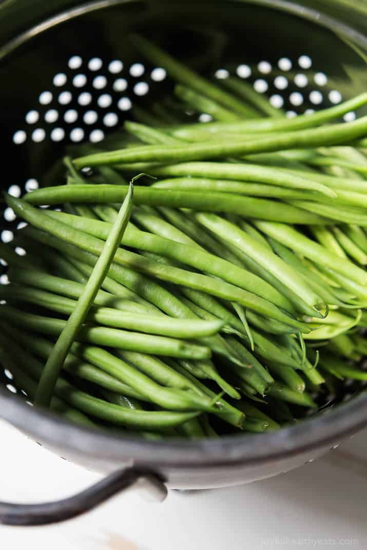 Green Beans in a Metal Strainer