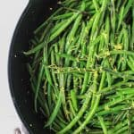 Green Beans Topped with Lemon Zest in a Large Skillet