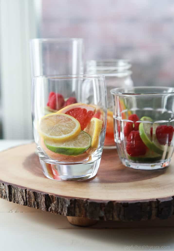 Easy delicious Fruit Infused Water is a great way to drink more water during the day, stay low on calories, and super refreshing! | joyfulhealthyeats.com