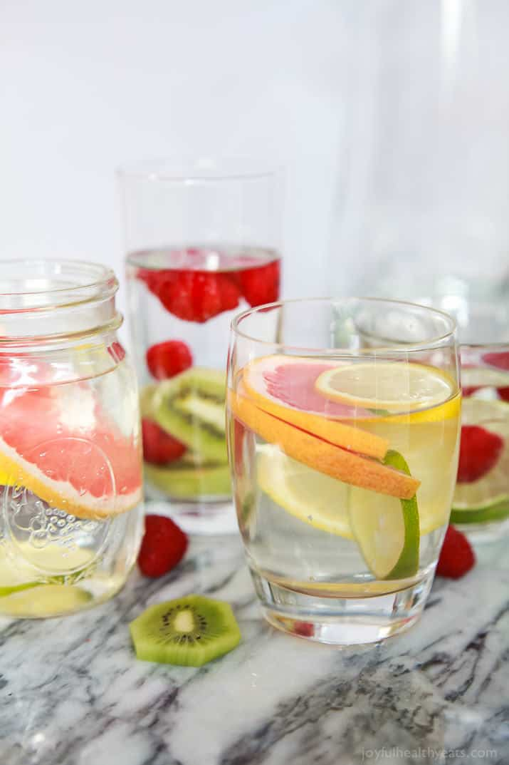 Several glasses of Fruit Infused Water