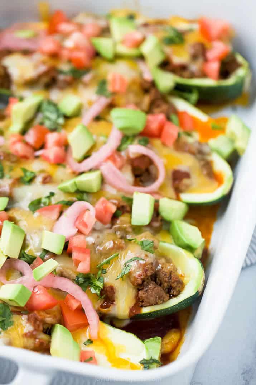 Five enchilada stuffed zucchinis