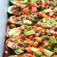 Ground Beef Enchilada Zucchini Boats