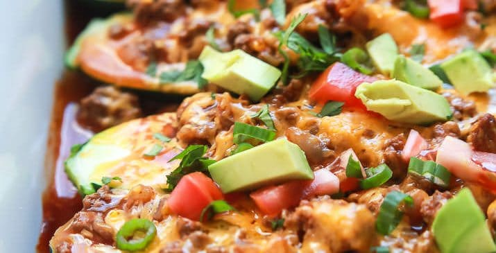 Ground Beef Enchilada Zucchini Boats - a healthy gluten free version of classic Beef Enchiladas. A little over 30 minutes to make but well worth it for the bold flavors and a calorie count of 222!   joyfulhealthyeats.com Quick Easy Dinner Ideas