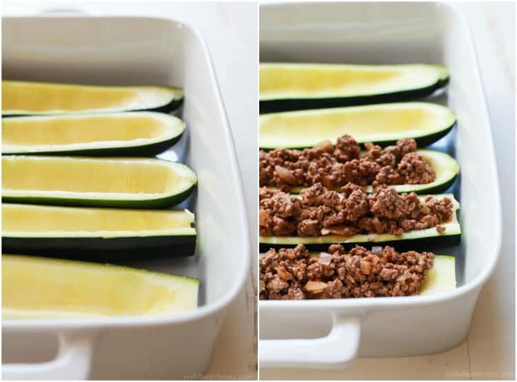 Collage of zucchini boats in a baking dish before and after being filled with ground beef