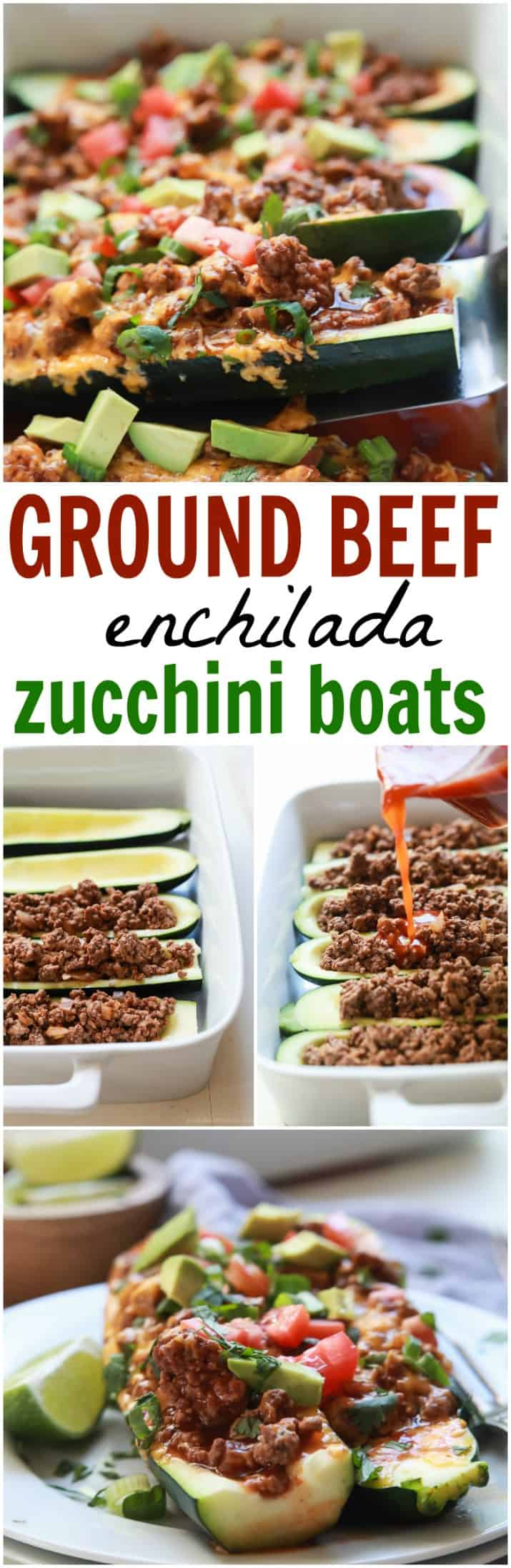 Ground Beef Enchilada Zucchini Boats recipe collage