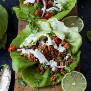 Ground Turkey Tacos in Lettuce Wraps with Cilantro Lime Crema-web-feature