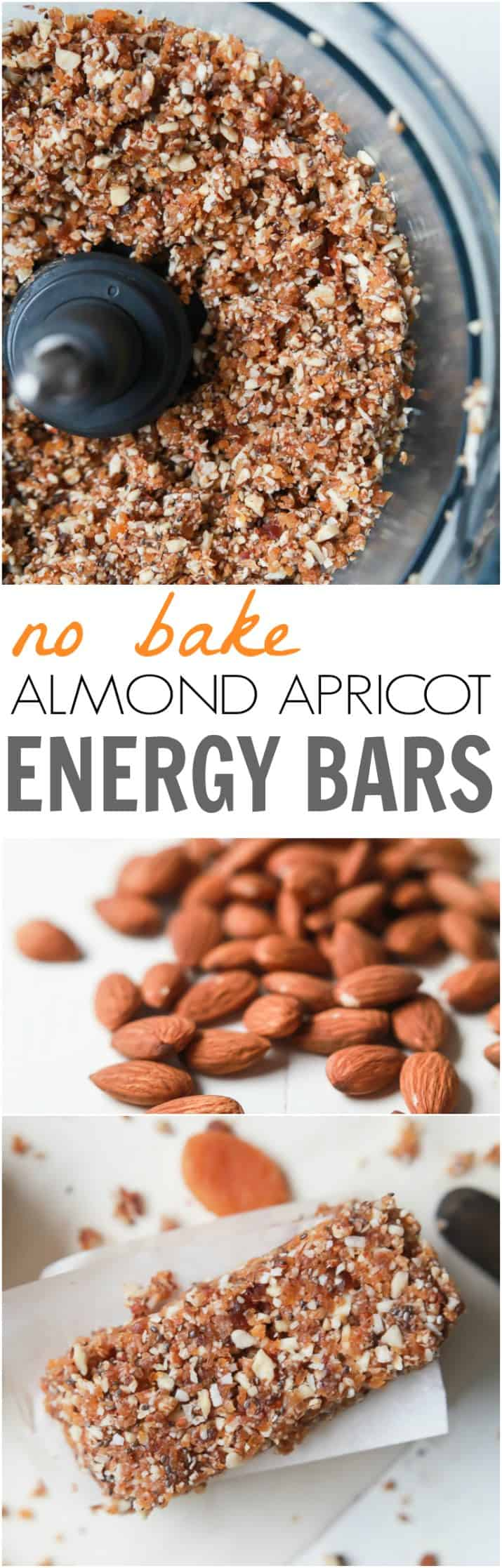 No Bake Apricot Almond Energy Bars - a great quick, easy and healthy snack option for a mid-day boost or post-workout snack. Takes 5 minutes to make!   joyfulhealthyeats.com #glutenfree #ad