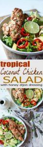 Tropical Coconut Chicken Salad Recipe + Crispy Almond Chicken Tenders